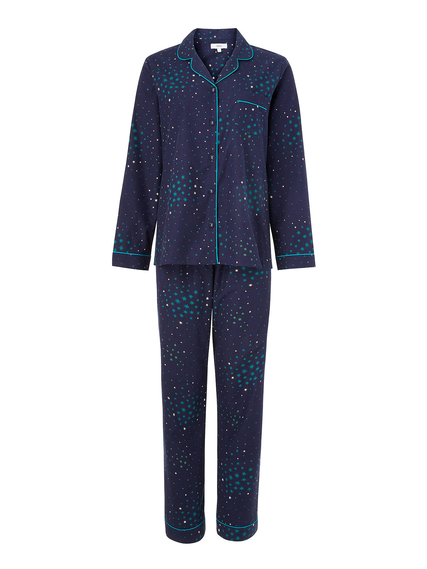 BuyJohn Lewis & Partners Gala Star Print Cotton Pyjama Set, Navy, 8 Online at johnlewis.com