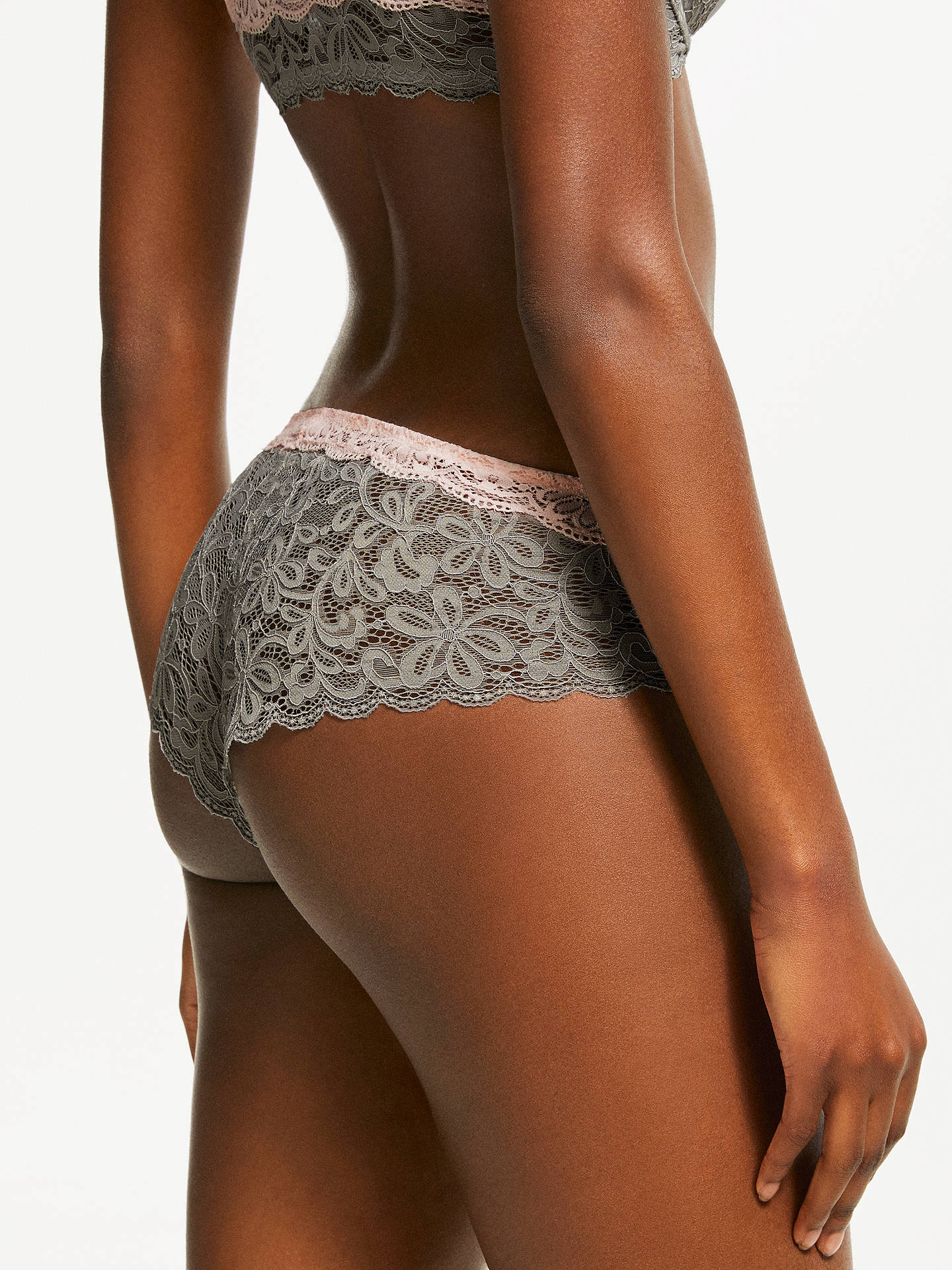 Buy AND/OR Taylor Lace Briefs, Grey/Pink, 8 Online at johnlewis.com