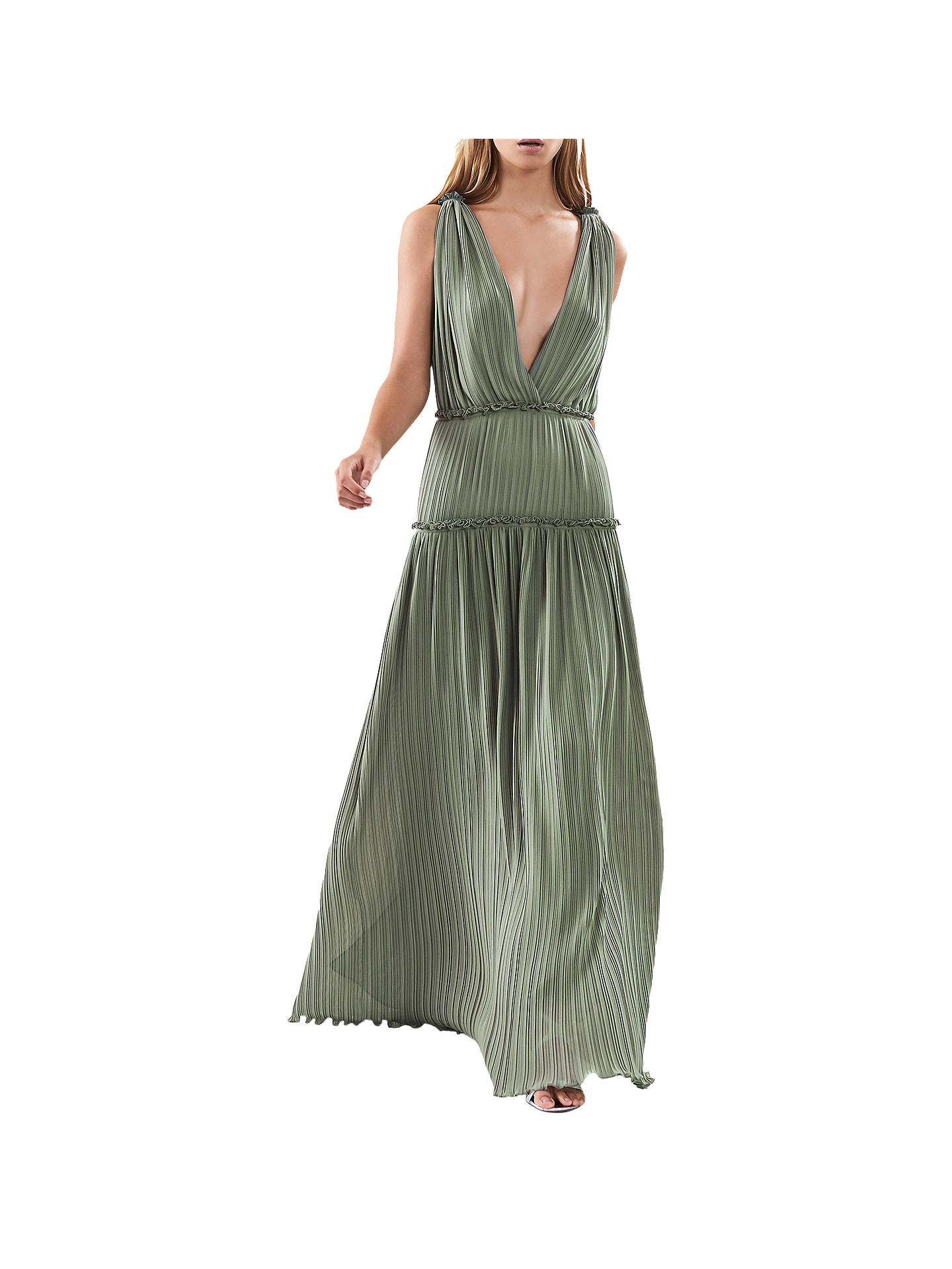 8f50eea276 Buy Reiss Gigi Pleat Maxi Dress, Sage Green, 4 Online at johnlewis.com ...