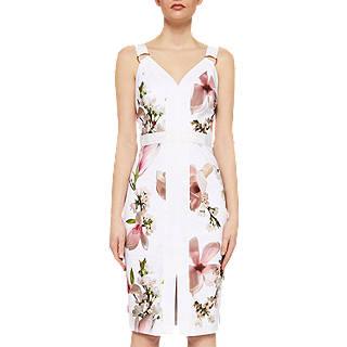Ted Baker Irasela Harmony Print Panel Dress, White/Multi