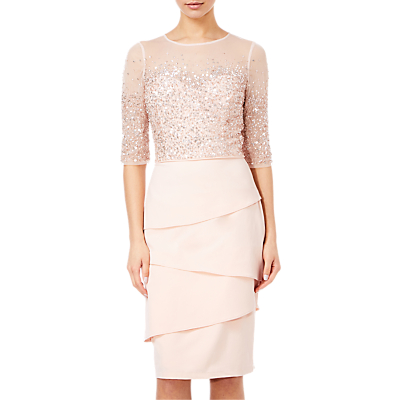 Adrianna Papell Beaded Illusion Bodice Sheath Dress, Blush