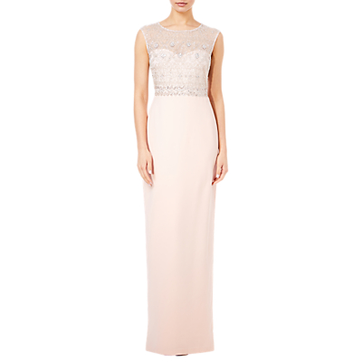 Adrianna Papell Beaded Tulle Bodice Long Dress, Blush