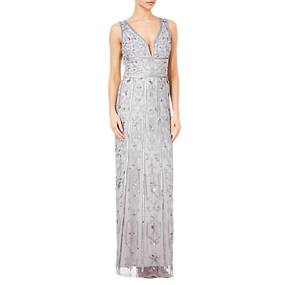 Adrianna Papell Beaded Column Dress, Light Dove