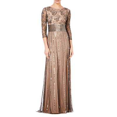 Adrianna Papell Beaded Long Dress, Black/Neutral