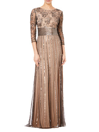 Buy Adrianna Papell Beaded Long Dress, Black/Neutral, 6 Online at johnlewis.com