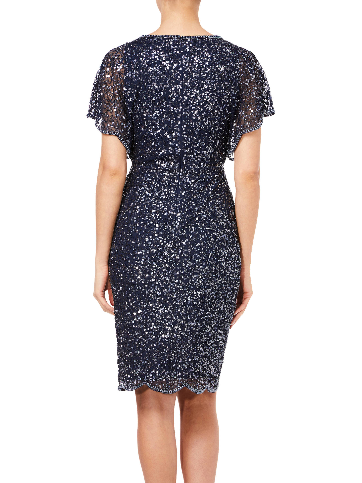 BuyAdrianna Papell Flutter Sleeve Bead Dress, Navy, 12 Online at johnlewis.com