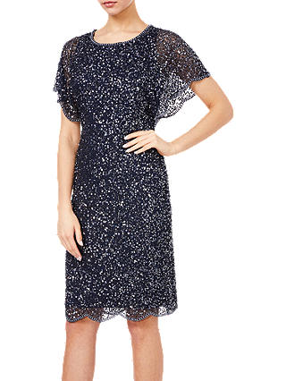 Buy Adrianna Papell Flutter Sleeve Bead Dress, Navy, 6 Online at johnlewis.com