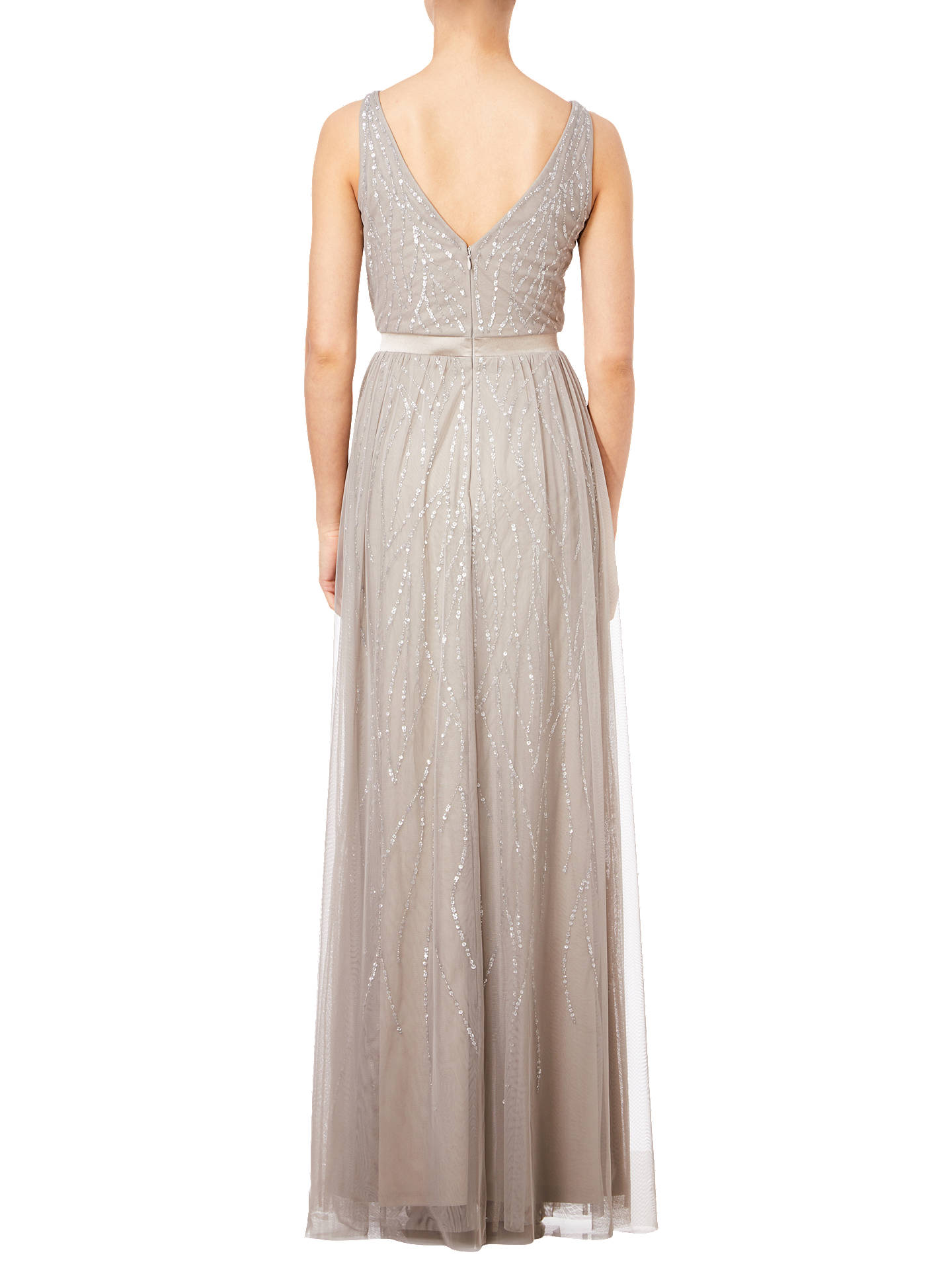 Buy Adrianna Papell Platinum Beaded Sleeveless Dress, Grey, 6 Online at johnlewis.com