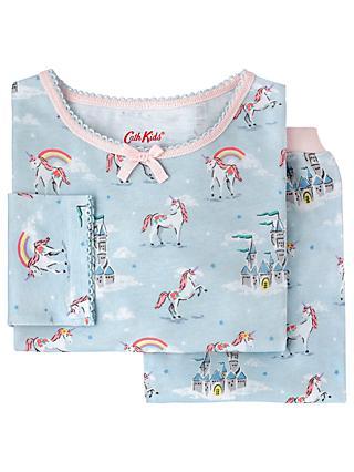 Cath Kids Girls' Unicorns And Rainbows Print Pyjamas, Blue