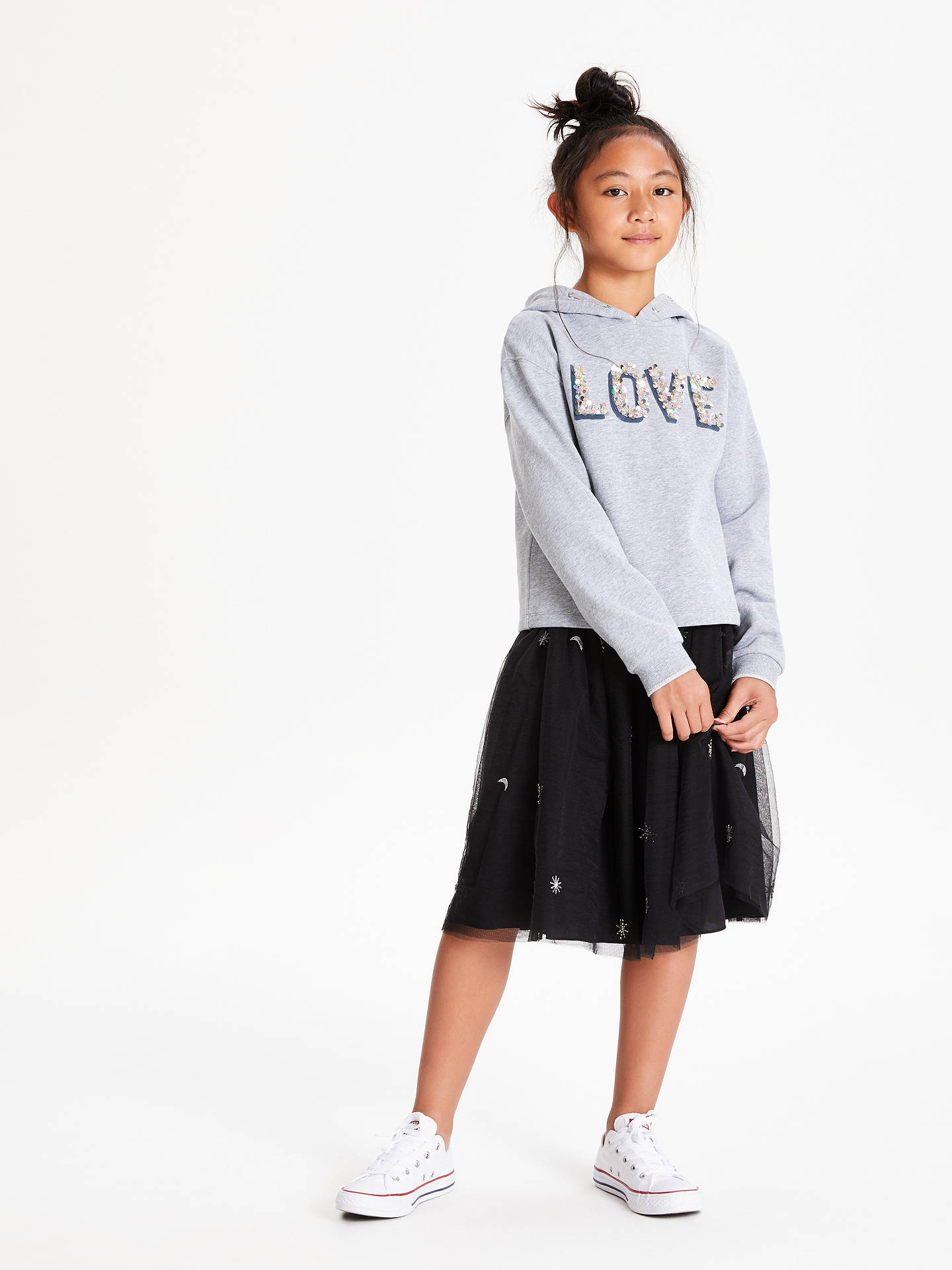 BuyJohn Lewis & Partners Girls' Sequin Hooded Sweatshirt, Grey Marl, 8 years Online at johnlewis.com