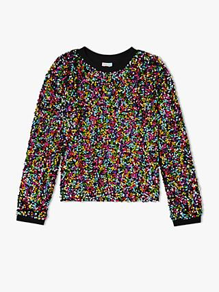 John Lewis & Partners Girls' Sequin Sweatshirt, Multi