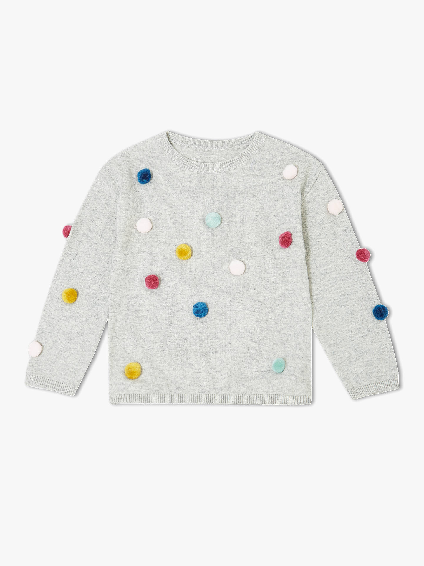 BuyJohn Lewis & Partners Girls' Pom Pom Jumper, Grey, 4 years Online at johnlewis.com