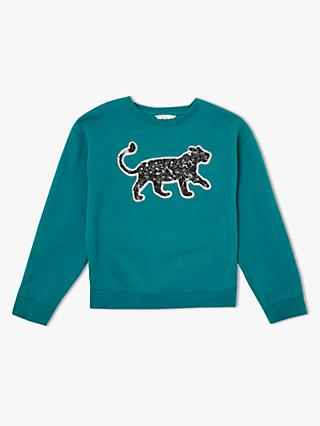 John Lewis & Partners Girls' Sequin Leopard Sweatshirt, Green