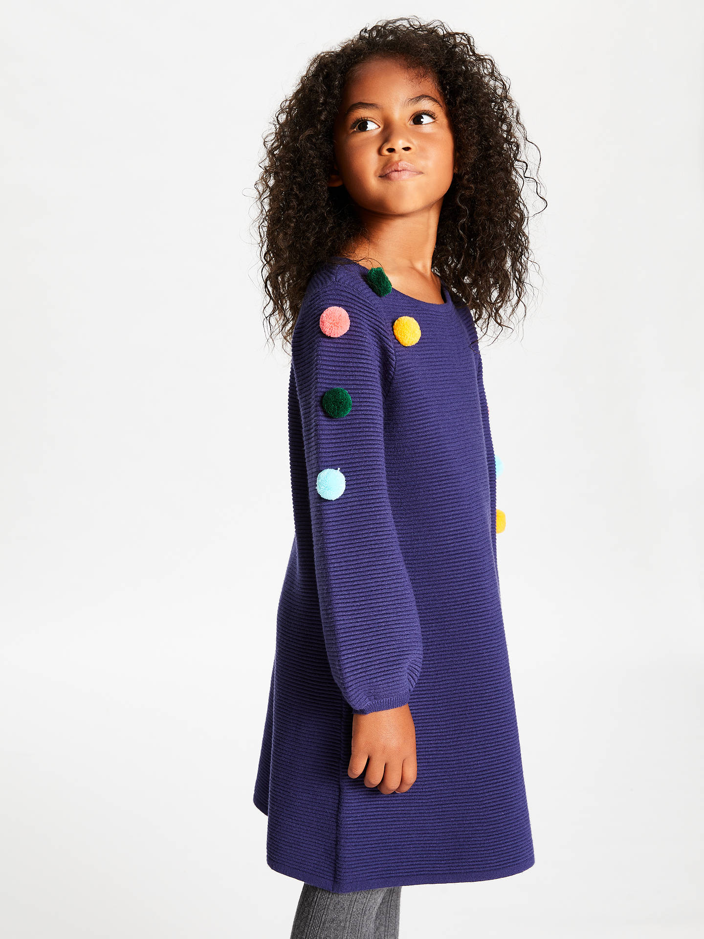 Buy John Lewis & Partners Girls' Pom Pom Knitted Dress, Navy, 4 years Online at johnlewis.com