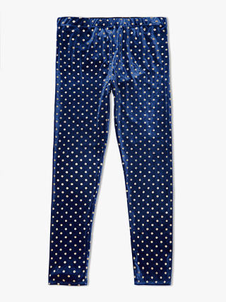 Buy John Lewis & Partners Girls' Spot Print Velvet Legging, Navy, 3 years Online at johnlewis.com
