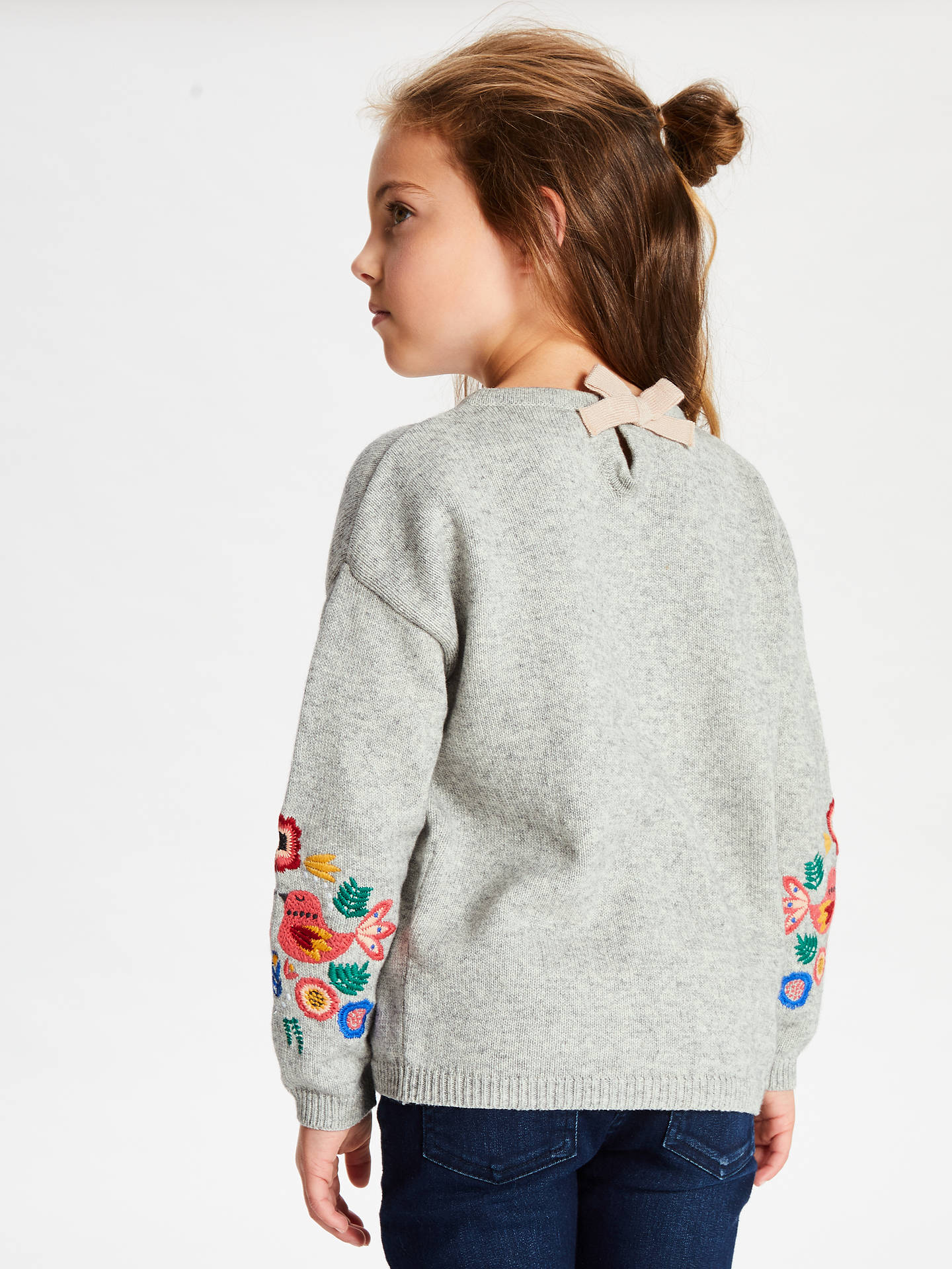 Buy John Lewis & Partners Girls' Embroidered Jumper, Grey, 2 years Online at johnlewis.com