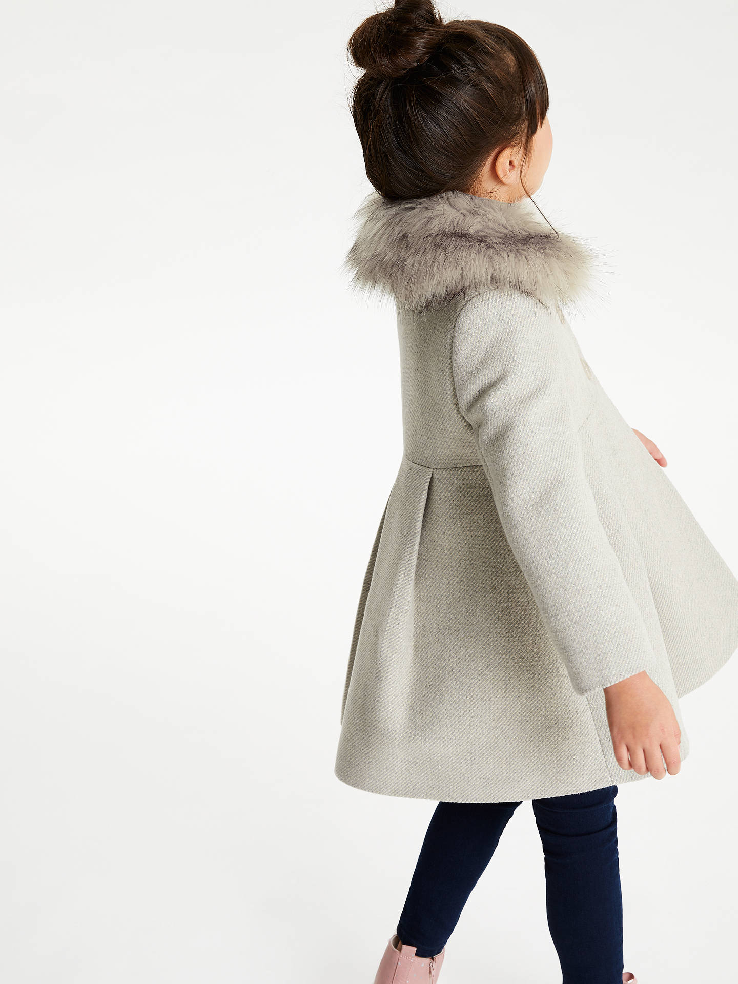 John Lewis & Partners Girls' Faux Fur Collar Coat, Grey at