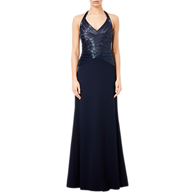 Adrianna Papell Beaded Halterneck Dress, Midnight