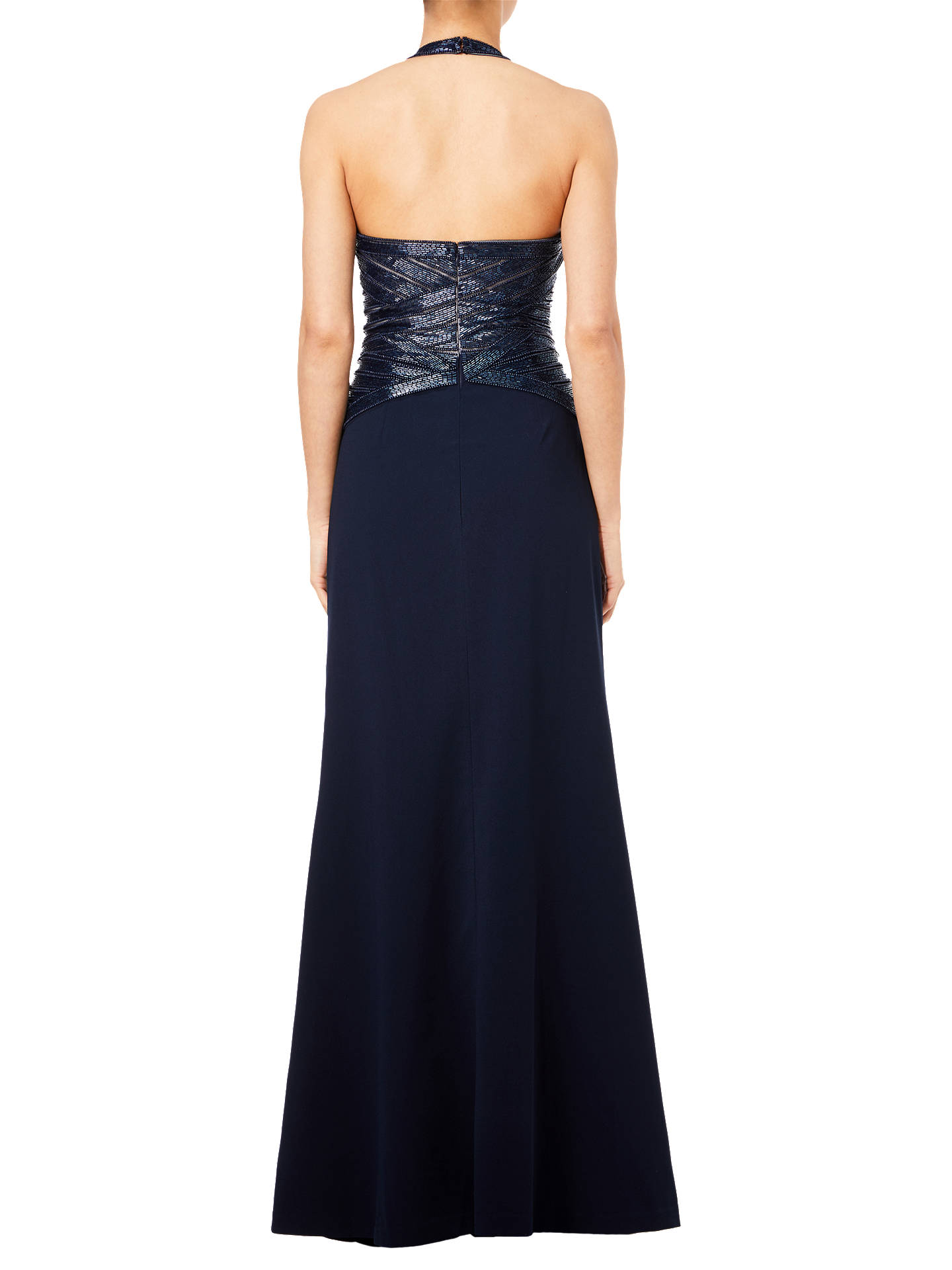 BuyAdrianna Papell Beaded Halterneck Dress, Midnight, 8 Online at johnlewis.com