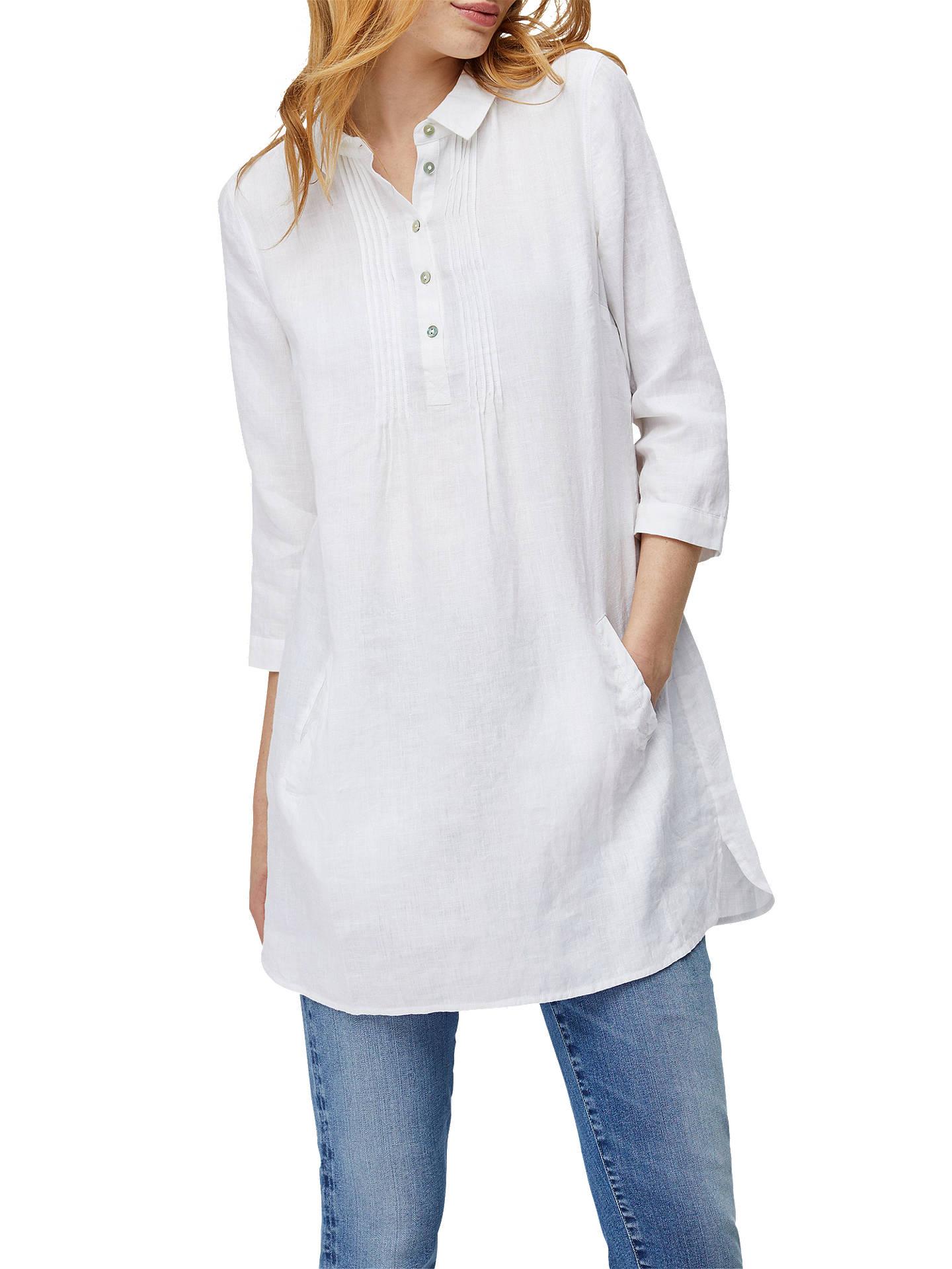 White Stuff Tessa Linen Tunic Top, White at John Lewis & Partners