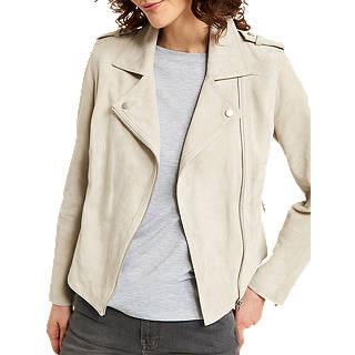 Mint Velvet Suede Biker Jacket, Light Grey