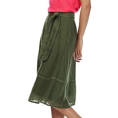 Brora Gauzy Linen Skirt, Parakeet