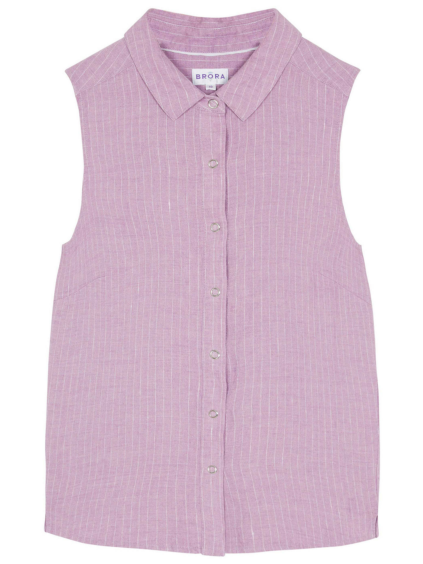 BuyBrora Pin Stripe Linen Sleeveless Shirt, Orchid & White, 6 Online at johnlewis.com