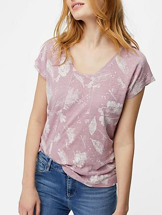 White Stuff Summer Print Highline Linen Jersey T-Shirt, Pink