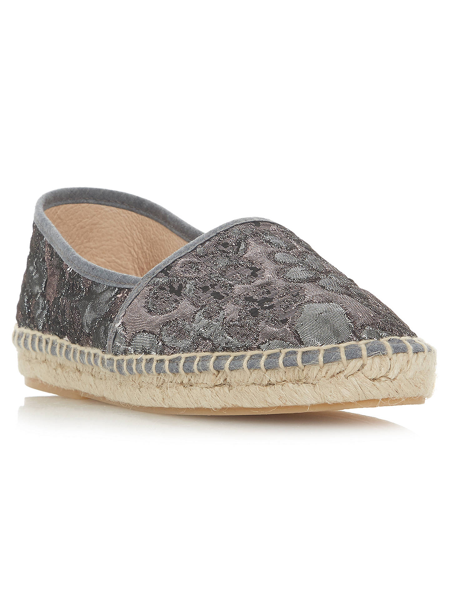 Buy Bertie Glaci Floral Espadrilles, Grey, 3 Online at johnlewis.com