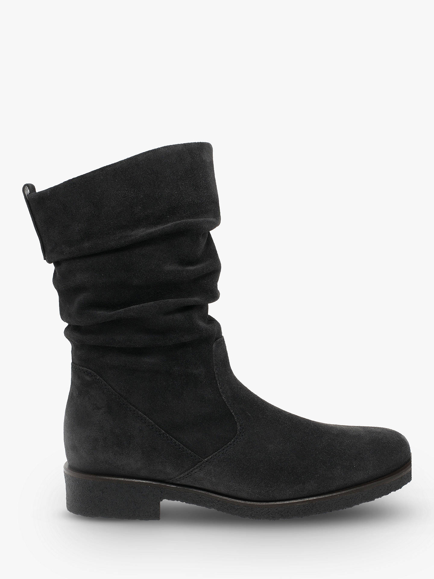 BuyGabor Greendale Wide  Fit Gathered Detail Calf Boots, Grey Suede, 4 Online at johnlewis.com