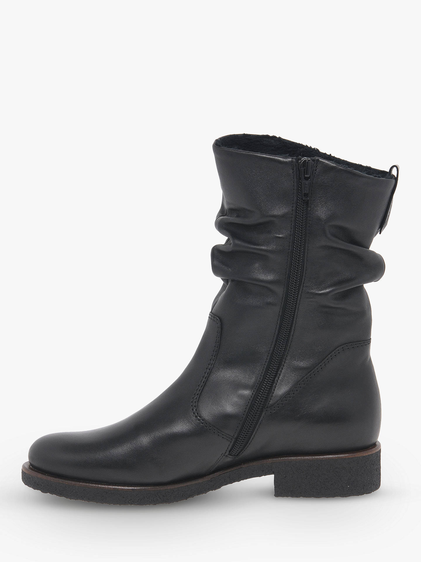 BuyGabor Greendale Medium Fit Gathered Detail Calf Boots, Black Leather, 3 Online at johnlewis.com