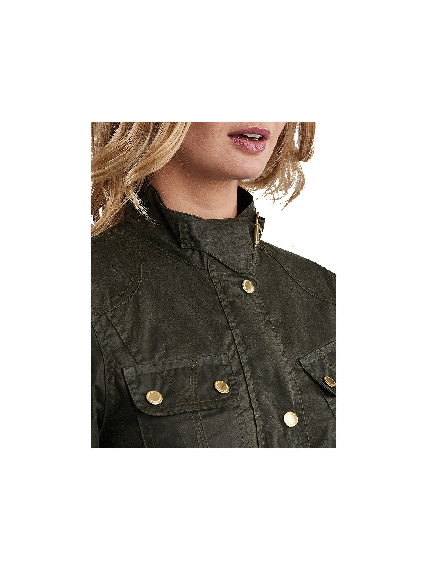 Buy Barbour International Anglesey Lightweight Waxed Jacket, Olive, 8 Online at johnlewis.com