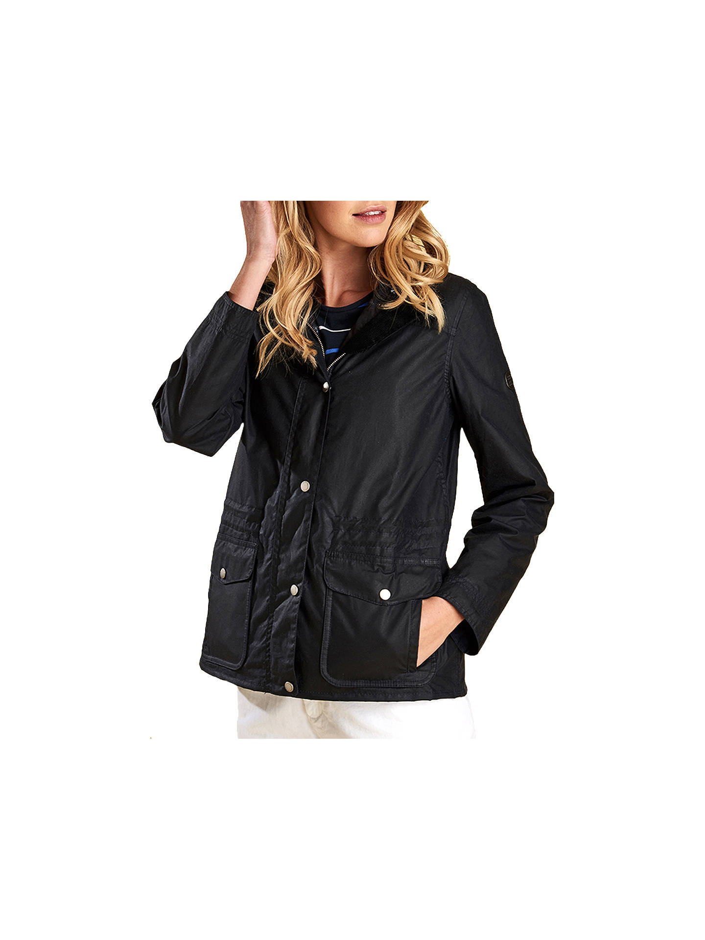 Buy Barbour Dover Wax Jacket, Blue, 8 Online at johnlewis.com
