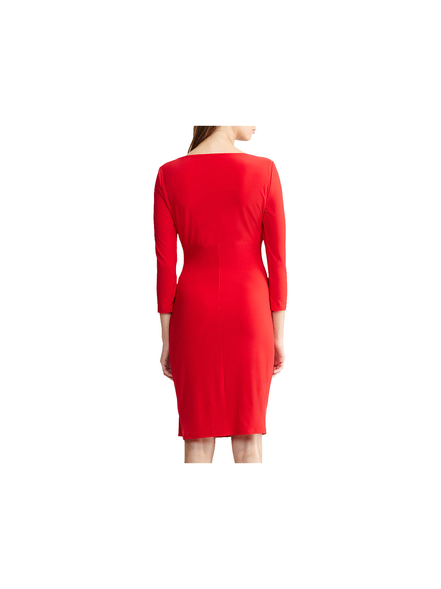 BuyPolo Ralph Lauren Electa Ruched Jersey Dress, Orient Red, 6 Online at johnlewis.com