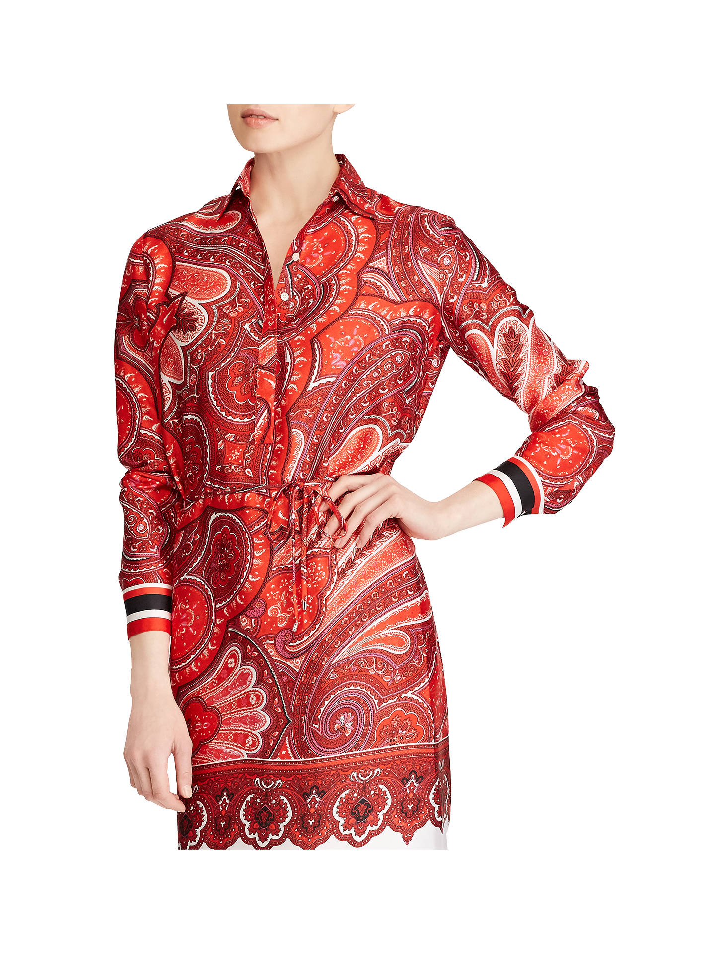 BuyLauren Ralph Lauren Wobet Paisley Shirt Dress, Red/Multi, 6 Online at johnlewis.com
