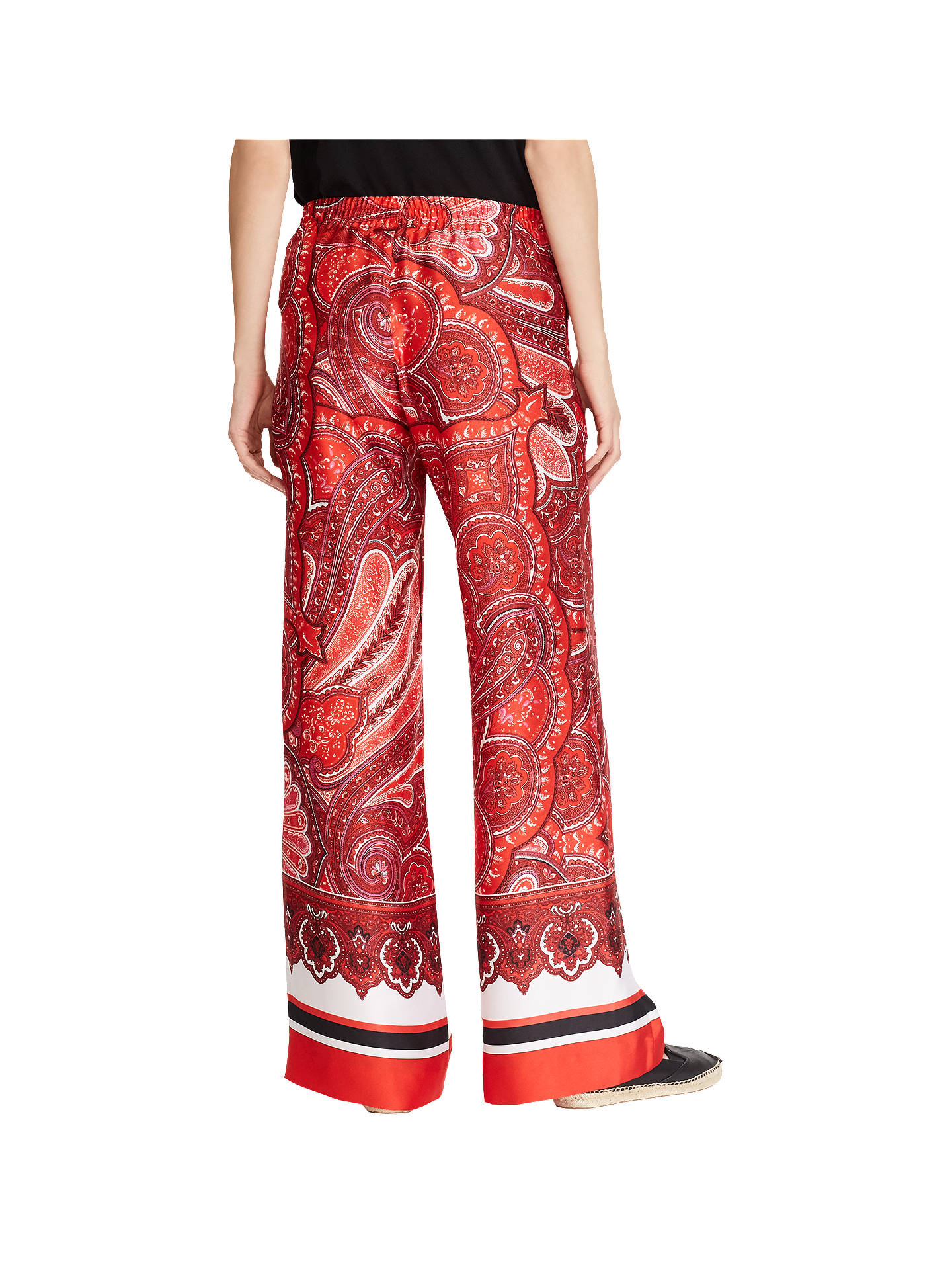 BuyPolo Ralph Lauren Ziakash Wide Leg Paisley Trousers, Red/Multi, XS Online at johnlewis.com