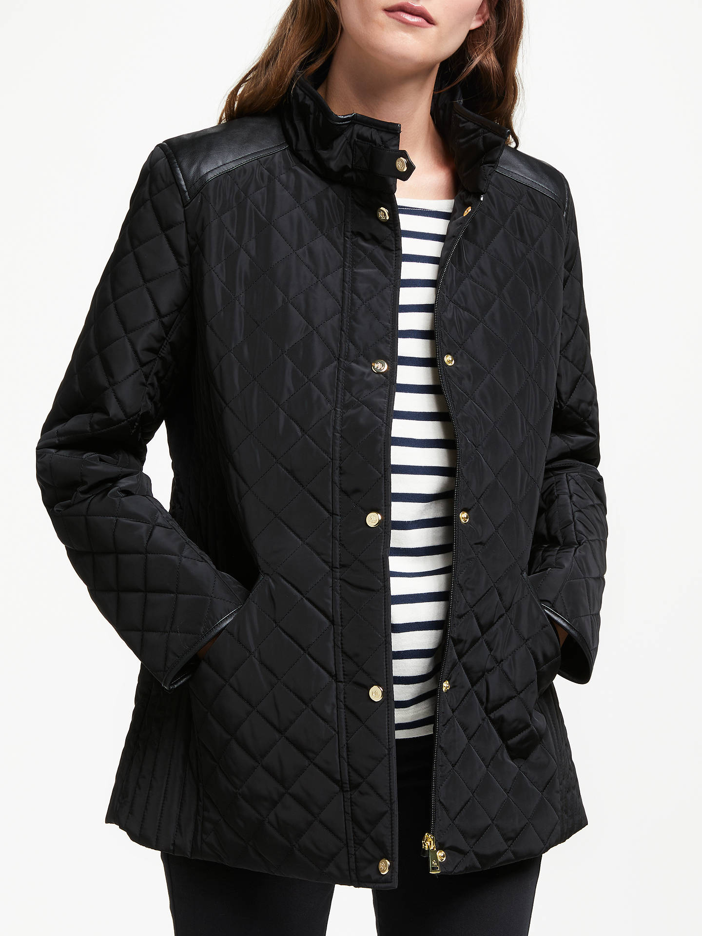 BuyLauren Ralph Lauren Yoke Quilted Coat, Black, XS Online at johnlewis.com  ... 5e86bf534aa