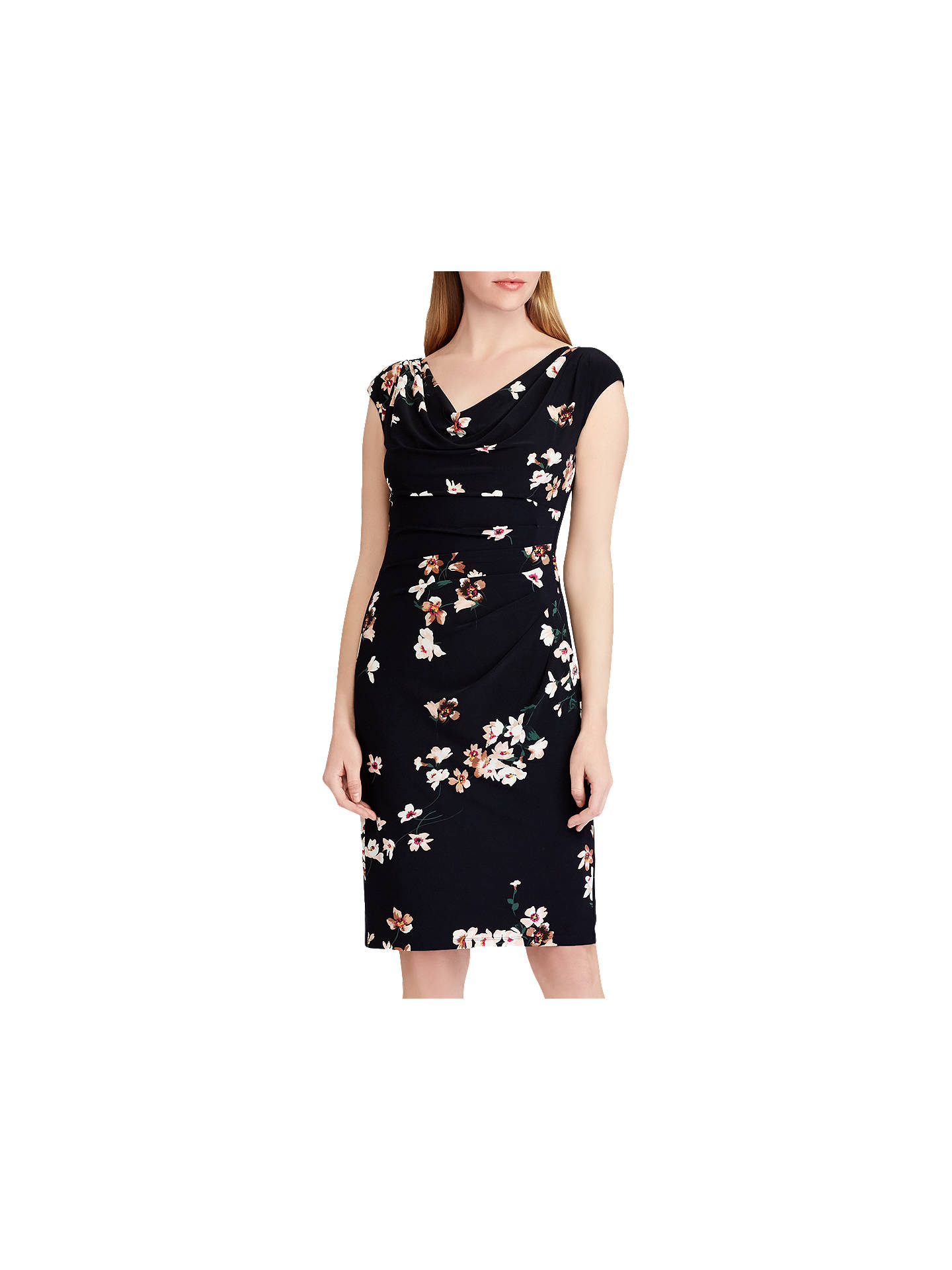 BuyLauren Ralph Lauren Valli Floral Print Jersey Dress, Lighthouse  Navy/Taupe, 6 Online ...