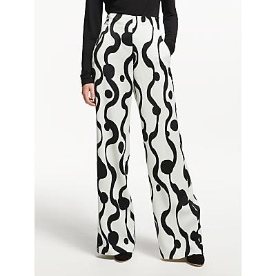 Marella Jones Swirl Print Wide Leg Trousers, Wool White