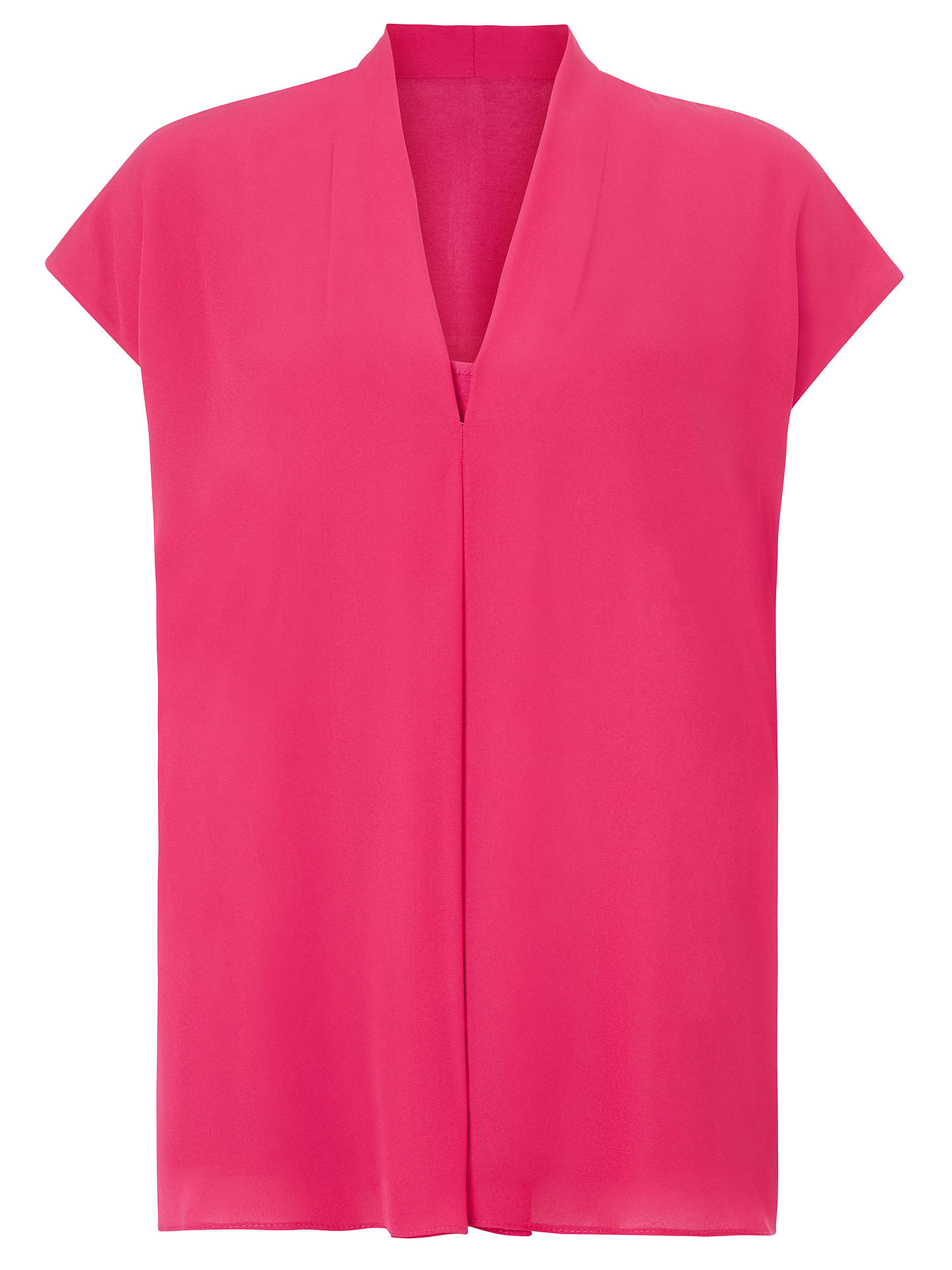 BuyJohn Lewis & Partners Cora Pleat V-Neck Blouse, Bright Pink, 8 Online at johnlewis.com