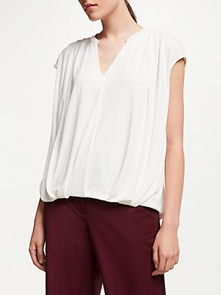 John Lewis & Partners Cap Sleeve Gather Detail Top, Ivory