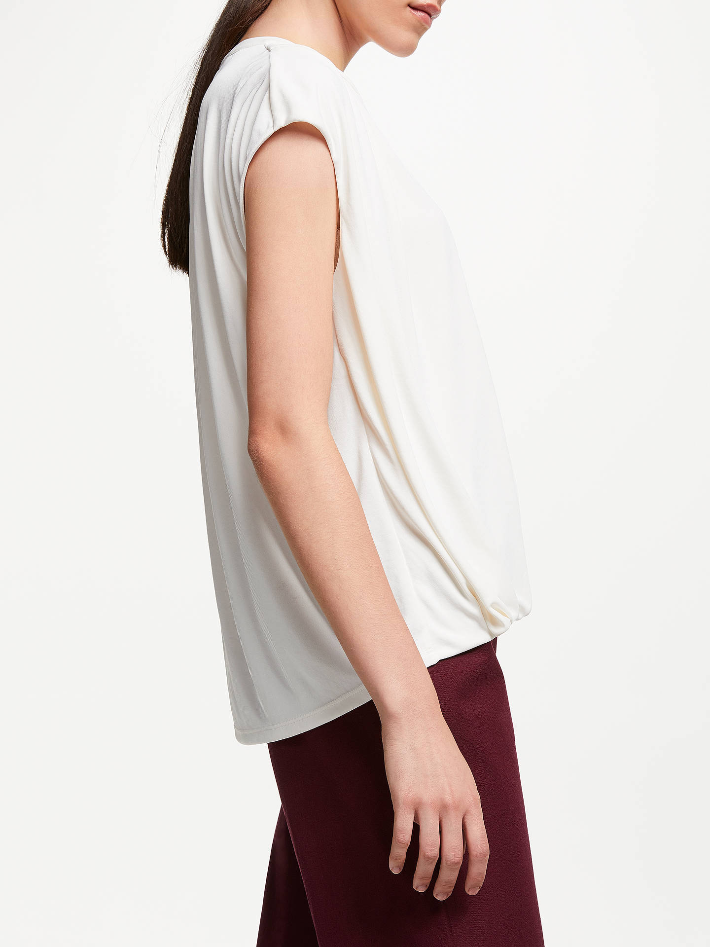 BuyJohn Lewis & Partners Cap Sleeve Gather Detail Top, Ivory, 8 Online at johnlewis.com