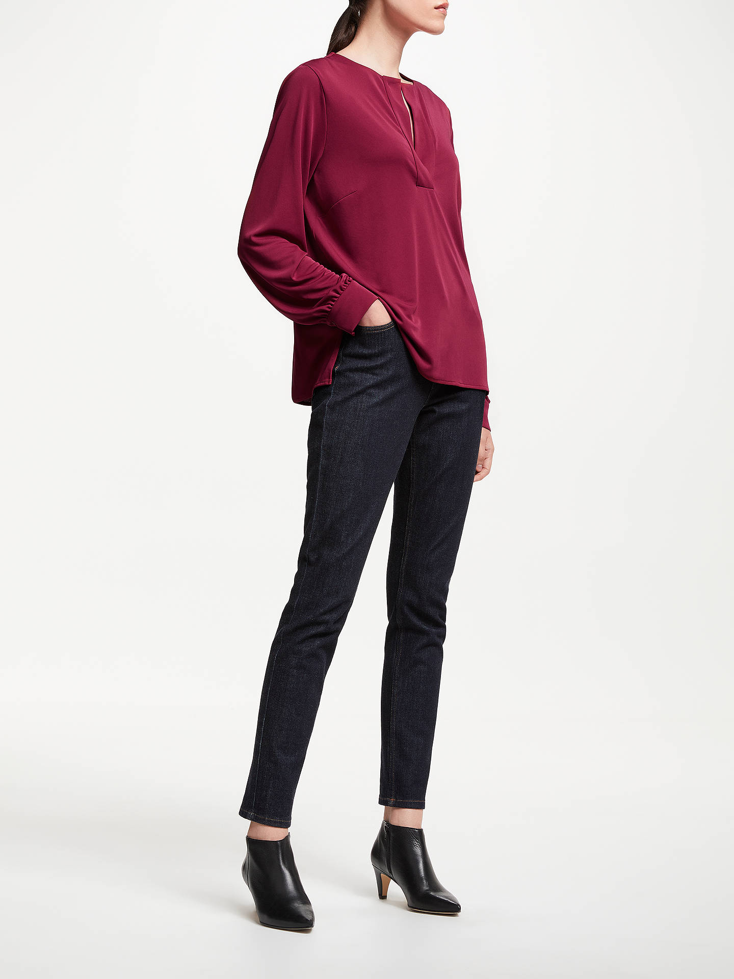 BuyJohn Lewis & Partners Long Sleeve Notch Neck Top, Burgundy, 8 Online at johnlewis.com