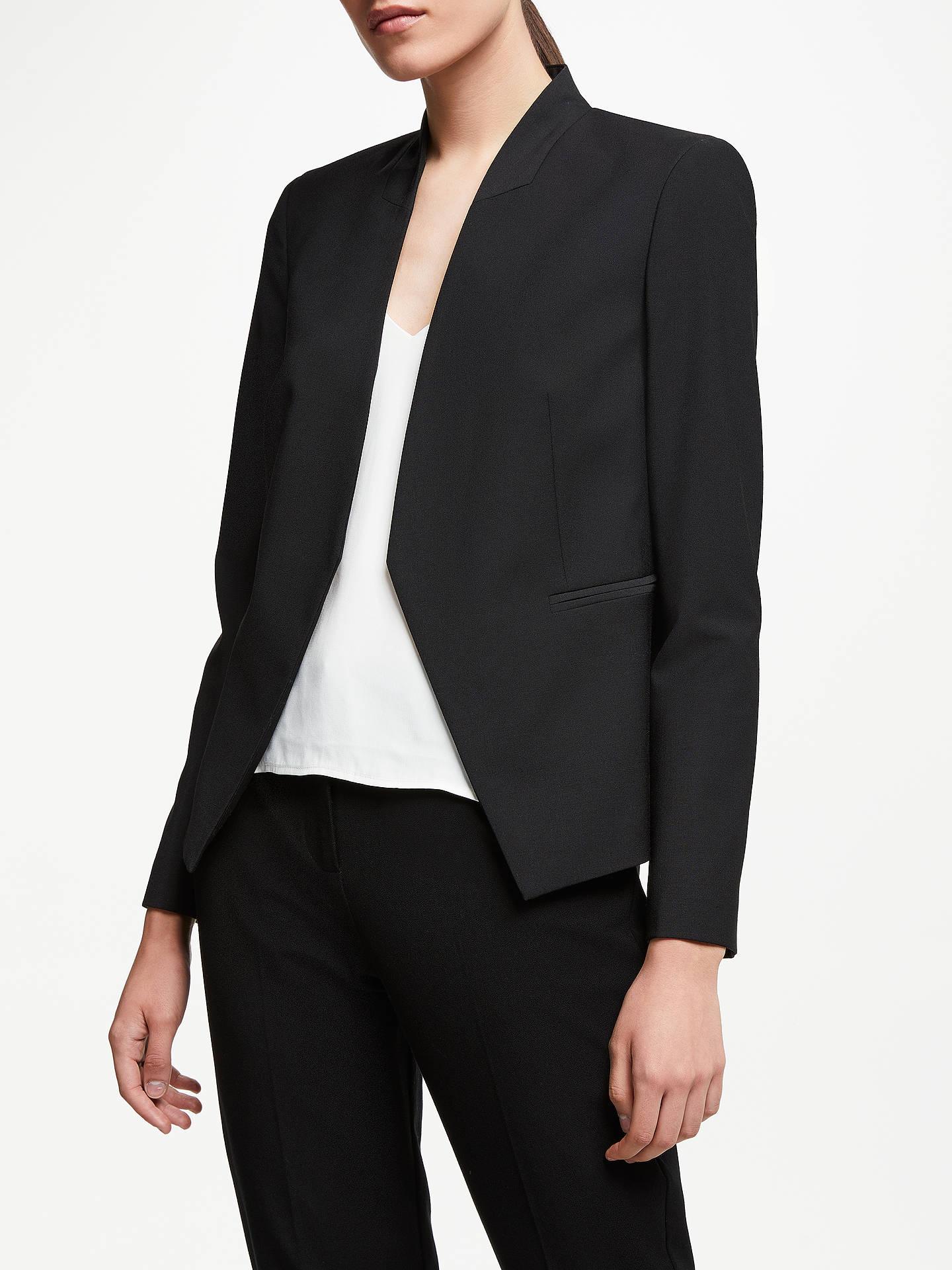 27124e89 Buy John Lewis & Partners Collarless Short Tailored Jacket, Black, 8 Online  at johnlewis ...