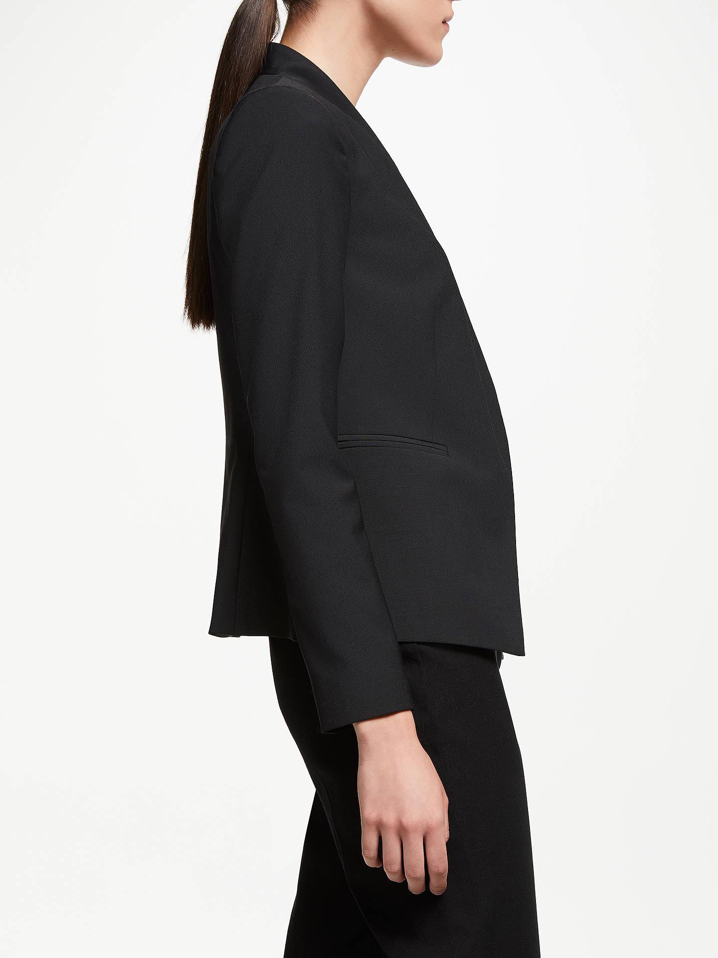 10e45dbb ... Buy John Lewis & Partners Collarless Short Tailored Jacket, Black, 8  Online at johnlewis