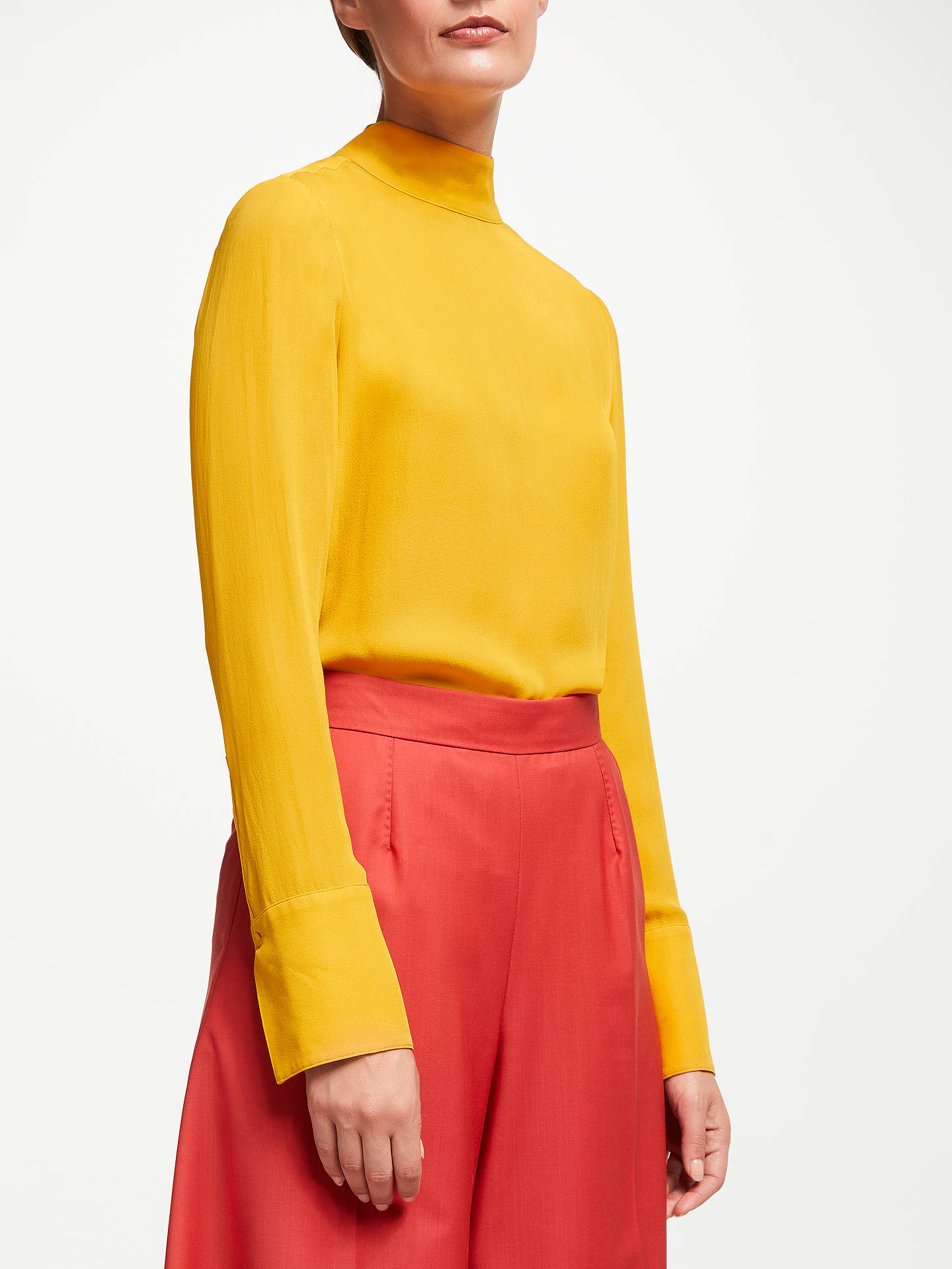 BuyJohn Lewis & Partners High Neck Silk Blouse, Mustard, 8 Online at johnlewis.com