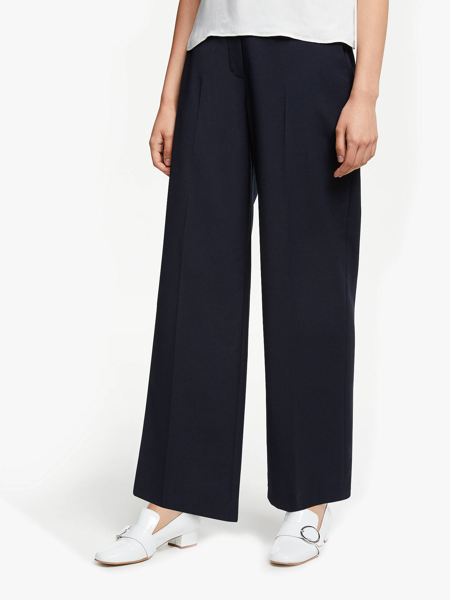 b5f3e17fb0 John Lewis & Partners Wide Leg Tailored Trousers, Navy