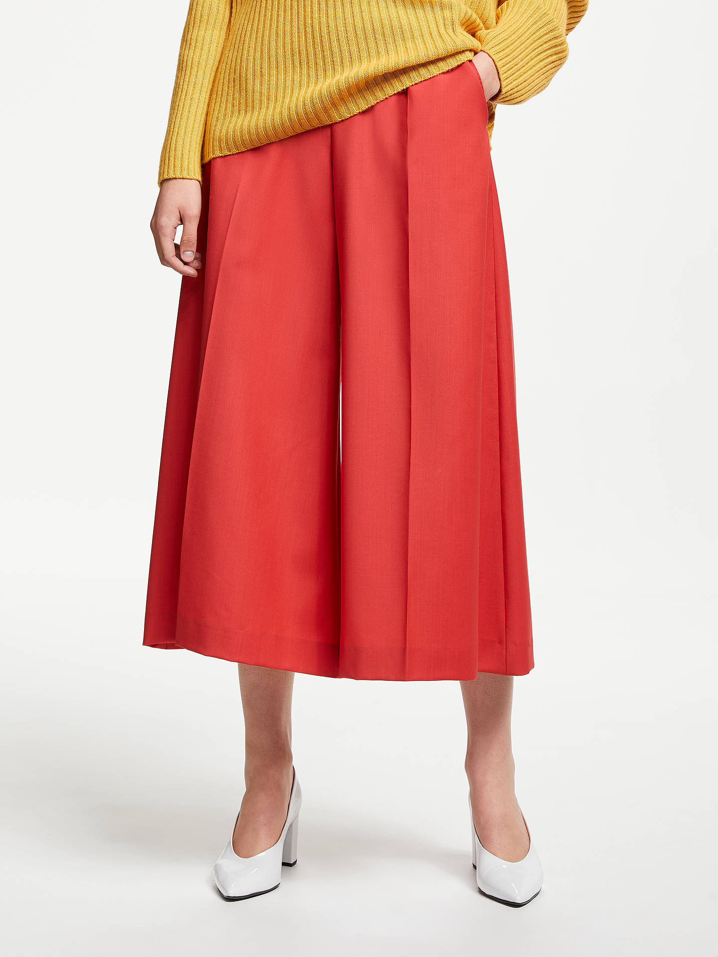 BuyJohn Lewis & Partners Wide Leg Wool Culottes, Orange, 8 Online at johnlewis.com