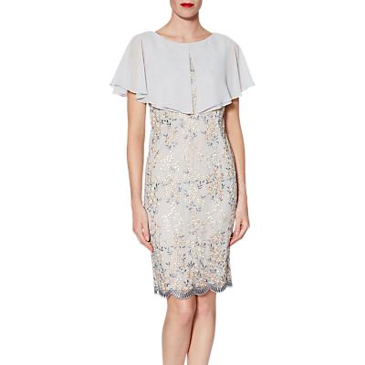 Gina Bacconi Edith Embroidered Dress And Chiffon Cape, Beige