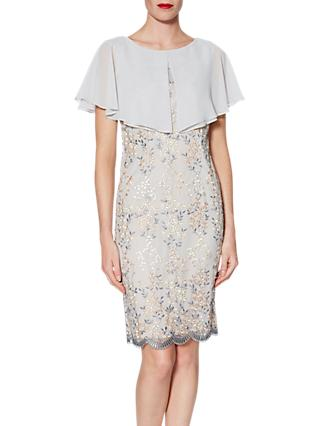 Gina Bacconi Edith Embroidered Dress And Chiffon Cape, Beige